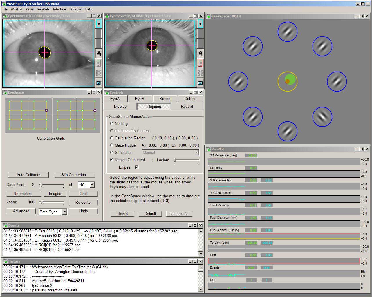 Arrington Research Eye Tracker PC user interface